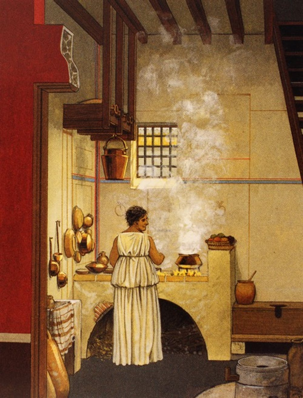 Artists Imagining Of A Typical Roman Kitchen With Toilet Featured To The Right Cooking Area Connolly And Dodge Ancient City P 148 AKG Images