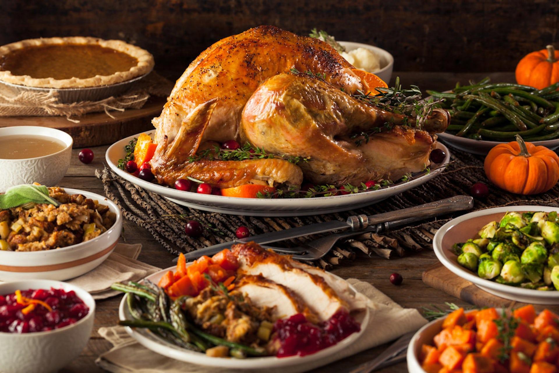 Thanksgiving dinner turkey trimmings