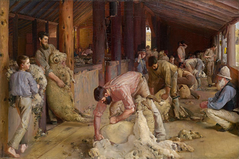 tom roberts anyone a national survey finds the line in art  shearing the rams tom roberts 1888 90 courtesy of the nga