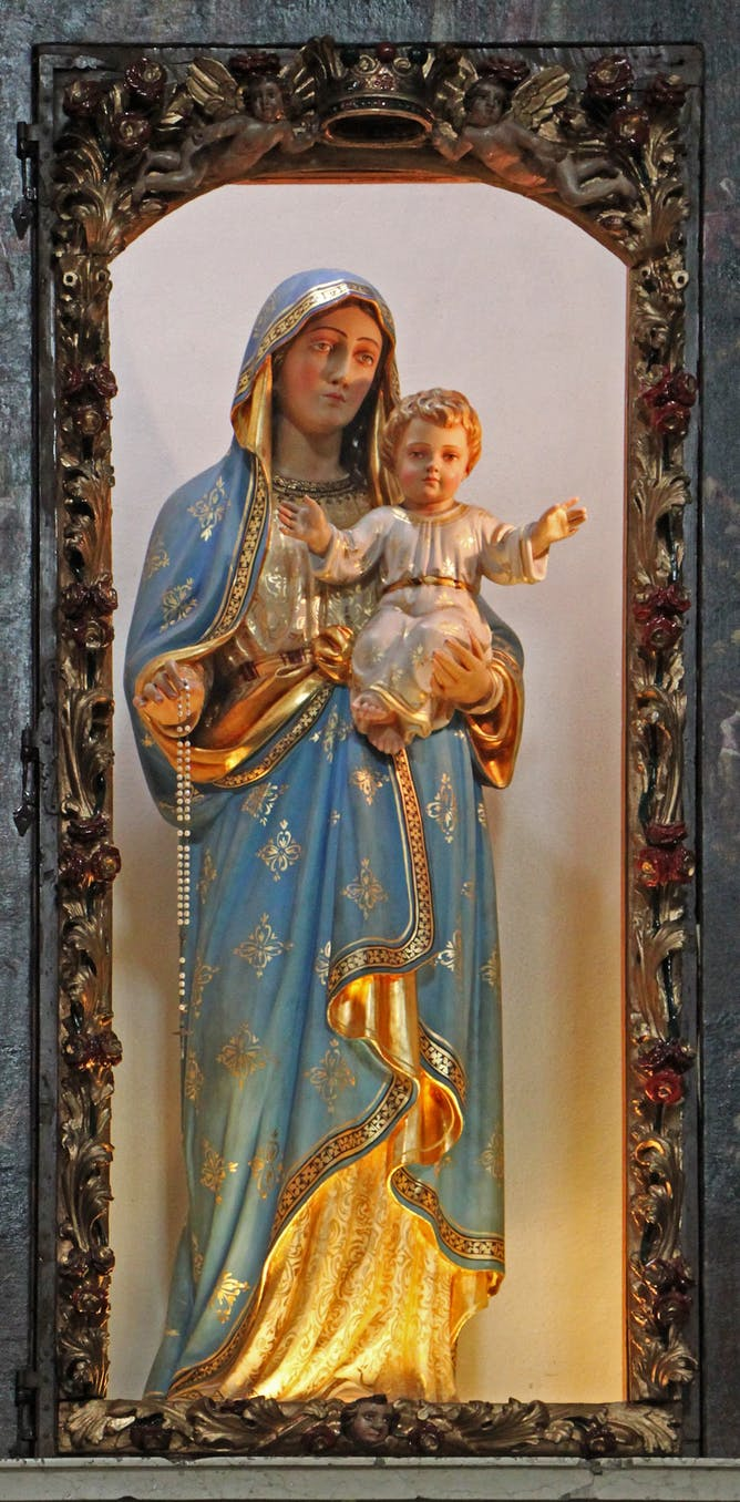 friday essay virgin mothers and miracle babies parish church s benedetto limone sul garda statue of mary jesus