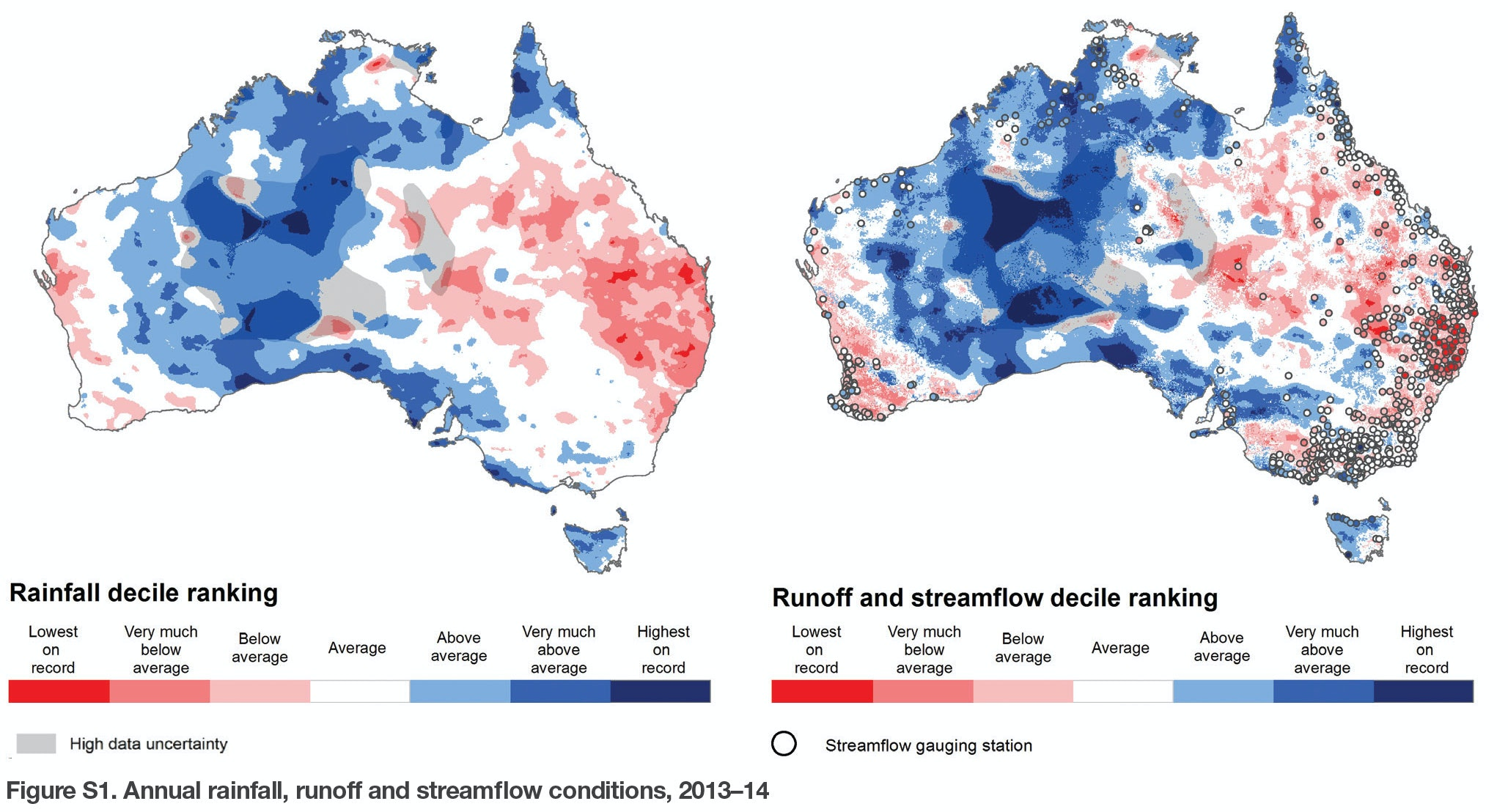 Annual rainfall runoff and streamflow conditions 2013u201314. Australian Bureau of Meteorology  sc 1 st  The Conversation & Declining rainfall in parts of Australia but still plenty of water ...