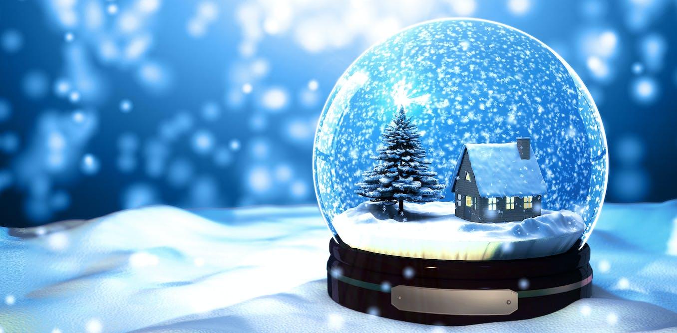 Открытка шар со снегом