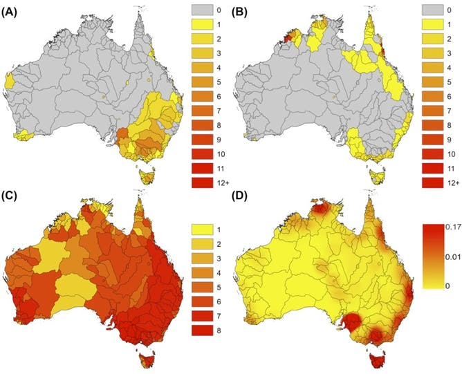 Freshwater fish in australia - Map A Shows The Number Of Currently Listed Threatened Fish Map B Shows The Number Of Species That We Identified As Potentially Vulnerable