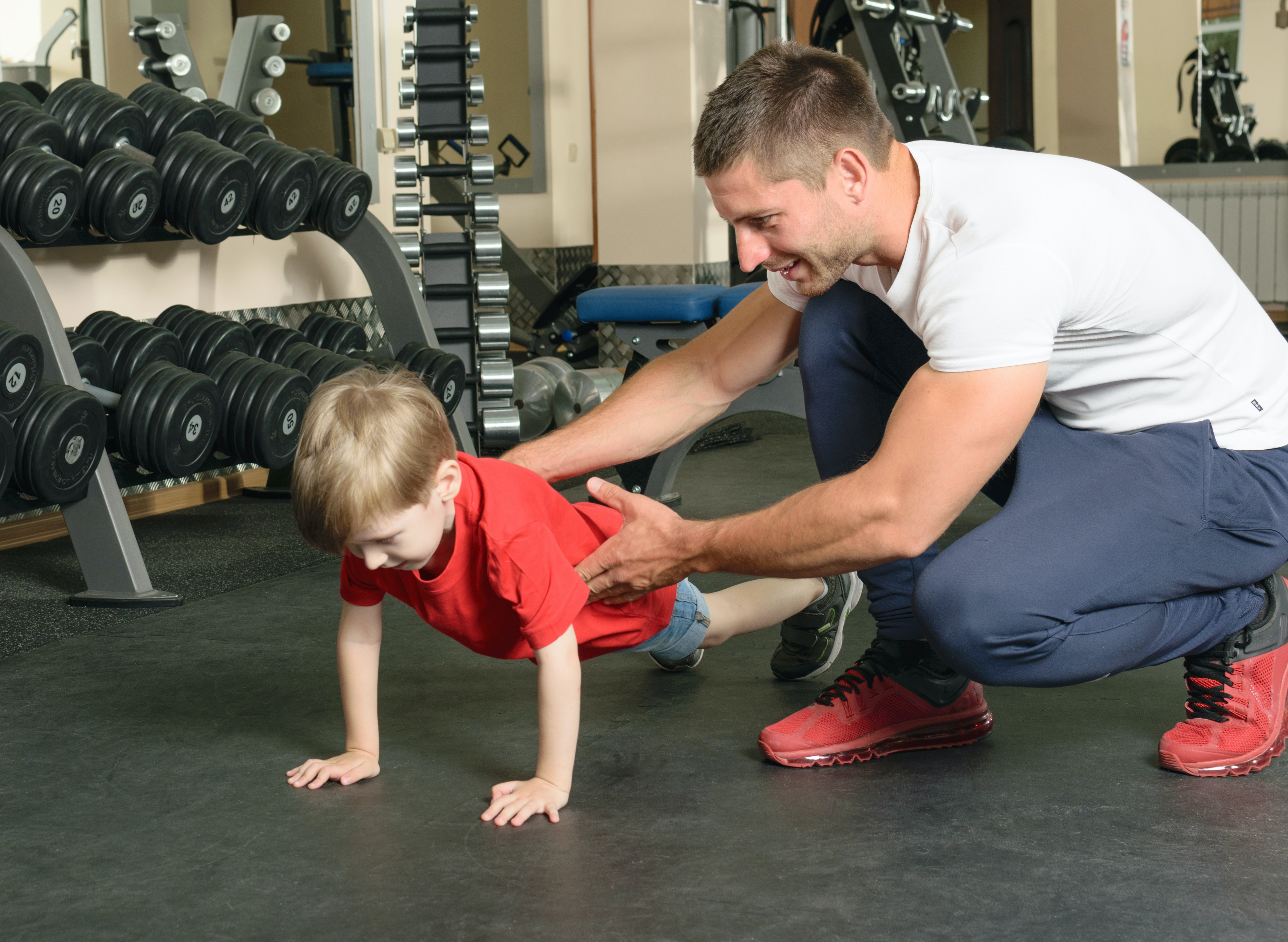 Juvenile man exercises all the right muscles