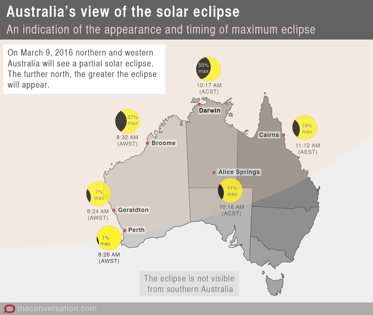 Partial Solar Eclipse Map.A Partial Solar Eclipse For Northern And Western Australia