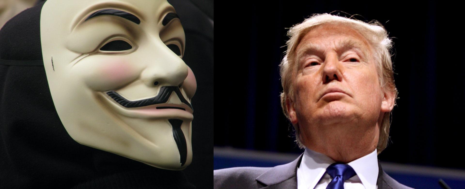 photograph regarding Donald Trump Mask Printable named How Nameless hacked Donald Trump