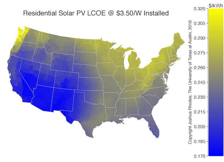 lcoe of residential solar across the us