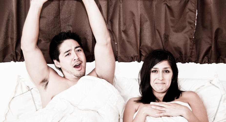 man touch woman body in bed