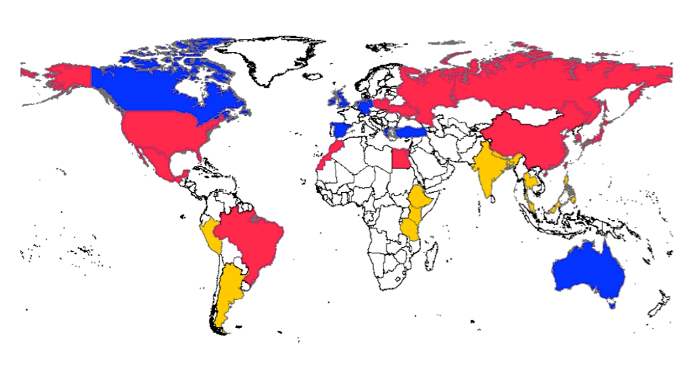 Do smart people tend to be more liberal yes but it doesnt mean psychological atlas of the world for 33 countries blue liberal red middle yellow conservative supplied gumiabroncs Images
