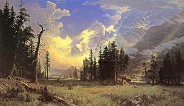 'The Morteratsch Glacier, Upper Engadine Valley, Pontresina, by. Albert Bierstadt, 1895.