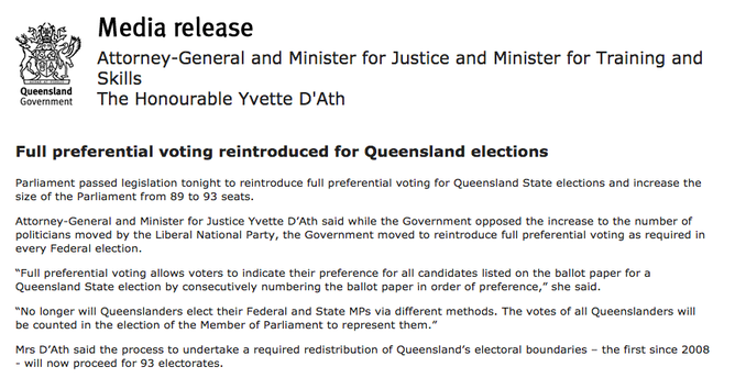 The Palaszczuk Government's Media Release About The Change In How  Queenslanders Will Vote, Issued Late On Thursday, April 21, 2016