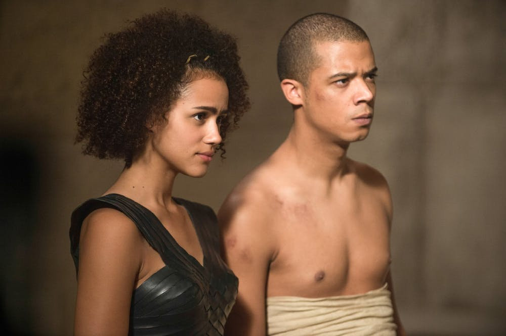 friday essay from daenerys to yara the top ten women of game of  nathalie emmanuel as missandei and jacob anderson as grey worm hbo
