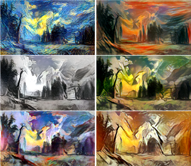 The Bierstadt painting in the styles of, clockwise from upper left, Van Gogh, Munch, Kahlo, Picasso, Matisse and Escher. Author provided