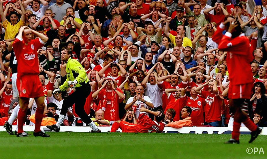 Rival international football fans are united by their common body language