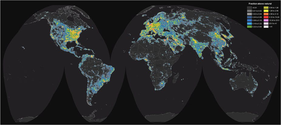 New atlas shows extent of light pollution what does it mean for world map of artificial sky brightness f falchi et al science advances 2016 cc by nc gumiabroncs Image collections