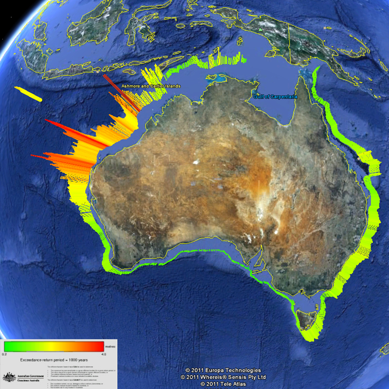 The Offshore Tsunami Hazard For Australia For A One In  Year Hazard Warmer Colours Indicate Greater Hazard Google Modified By Geoscience Australia