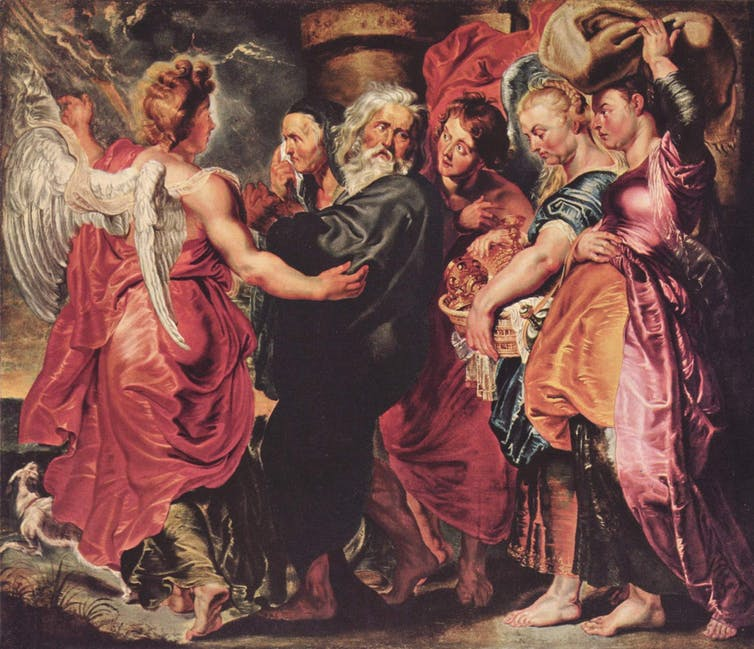 Peter Paul Rubens, Lot and his family escaping from the doomed city guided by an angel, circa 1615.