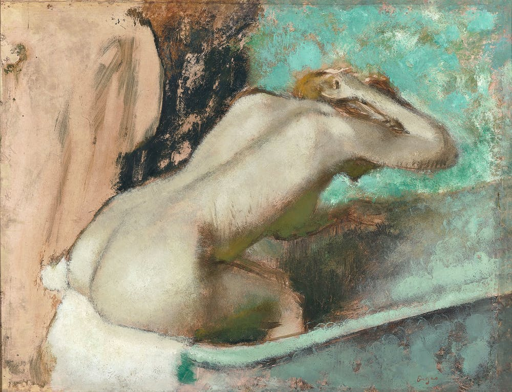 Edgar Degas Woman Seated On The Edge Of Bath Sponging Her Neck C 1880 95 CLICK TO ENLARGE Musee DOrsay Image Courtesy National Gallery