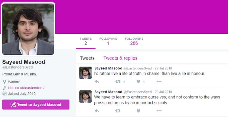 Syed Eastenders Twitter gay Muslim