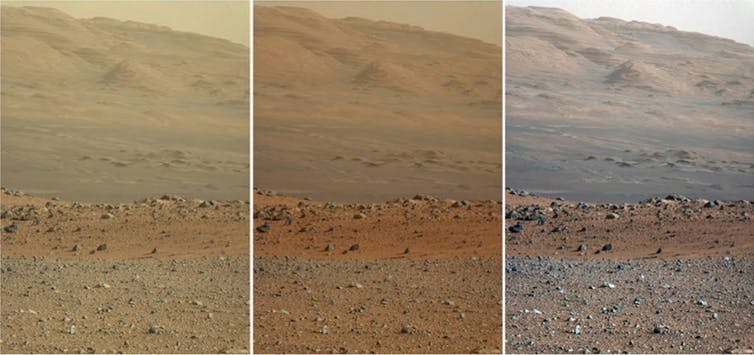 Tryptych of images of the surface of Mars. They are an orange sepia in tone and show a pebble dashed landscape with a hill in the background.