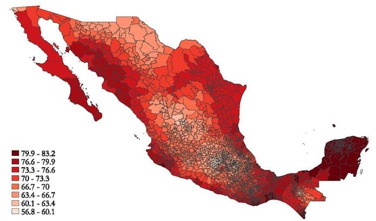 Différences des températures moyennes (exprimées ici en degrés Fahrenheit) à travers le Mexique. Davis and Gertler, PNAS, 2015