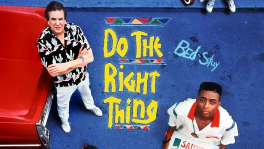 under the influence of spike lee s film do the right thing  the poster for do the right thing