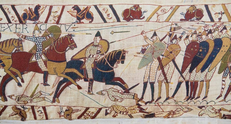 king harold the great what might have been if the english had won  hastings a bloody mess as depicted in the bayeux tapestry shutterstock