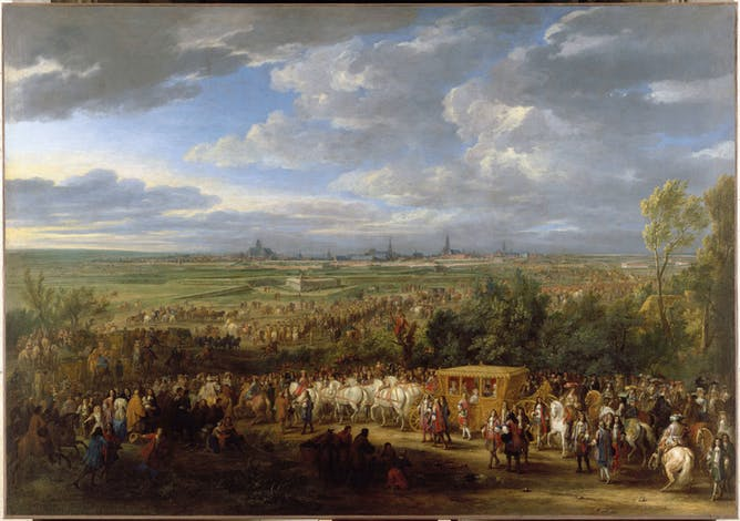 friday essay what is it about versailles ceremonial entry of louis xiv and queen marie theacuteregravese into arras 30 1667 c 1685 adam frans van der meulen museacutee du louvre paris