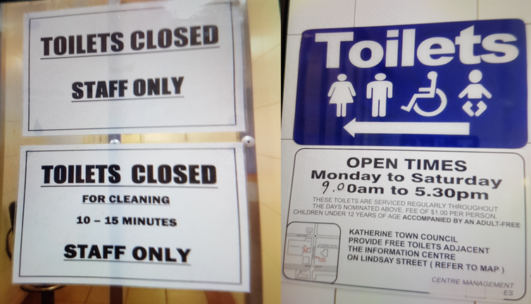 the markers of everyday racism in  toilets closed katherine nt photos c smith