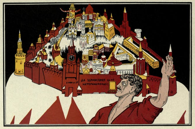 friday essay putin memory wars and the th anniversary of the russian revolution poster 1918 20 the russians say above moscow is the kremlin and above the kremlin are only the stars