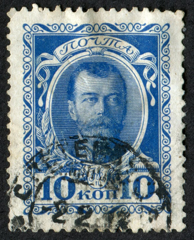 friday essay putin memory wars and the 100th anniversary of the a stamp depicting nicholas ii circa 1913 shutterstock