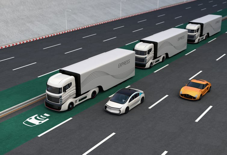 Wired up roads will soon charge your electric car while youre the future fleets of autonomous hybrid trucks driving on a wireless charging lane chesky shutterstock fandeluxe Images