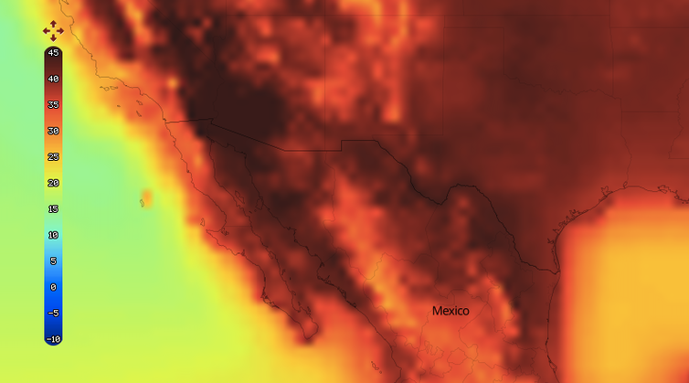A predicted heat map of the US-Mexico border for July 2100 if current high carbon emissions are maintained. The map is yellow from the left corner inward, showing around 20 degrees in temperature, then goes red and very deep brown and red toward the middle of the image where the border is, showing temperatures of between 40-45 degrees.