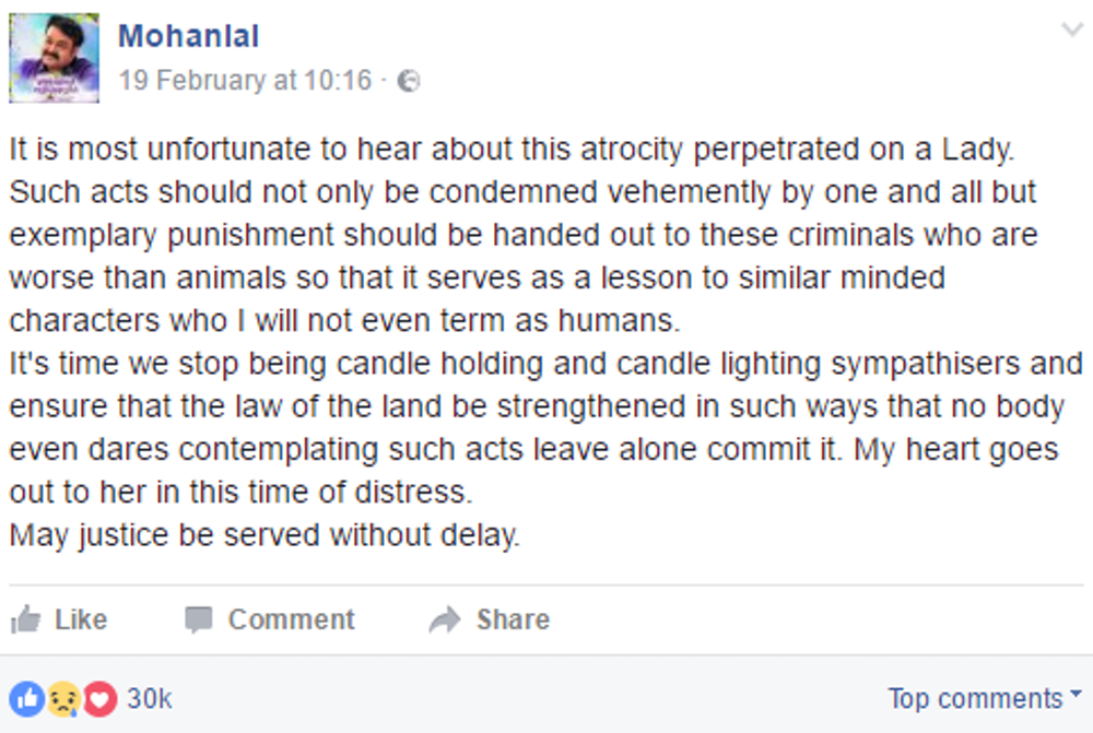 Actor Mohanlal Viswanathan Nair, popularly known as Mohanlal, posted a  statement about the attack on his Facebook page.
