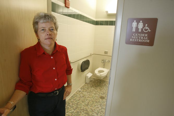 the transgender bathroom controversy four essential reads annie smith stands at the door of a gender neutral restroom at the university of vermont in burlington vt thursday aug 23 2007 toby talbot ap photo