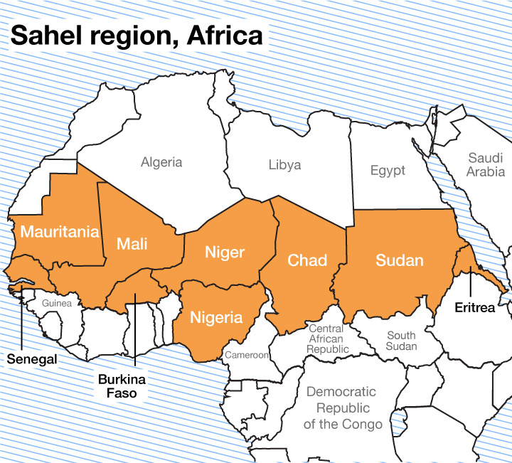sahel in africa map