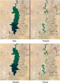 A satellite image of reservoirs demonstrating the impact and predicted impact of climate change