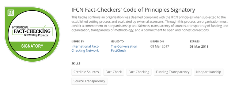 The Conversation's FactCheck unit has become the second fact-checking to be accredited by the International Fact-Checking Network.