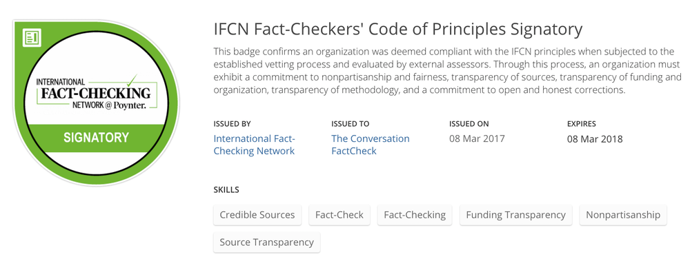 The Conversation's FactCheck granted accreditation by International