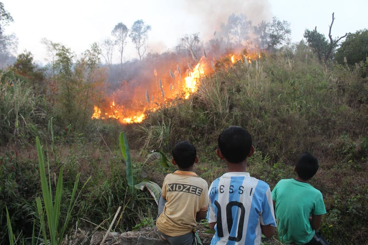 The children assigned with firefighting tasks, watch patiently as the fire spreads. Mirza Zulfiqur Rahman, Author provided