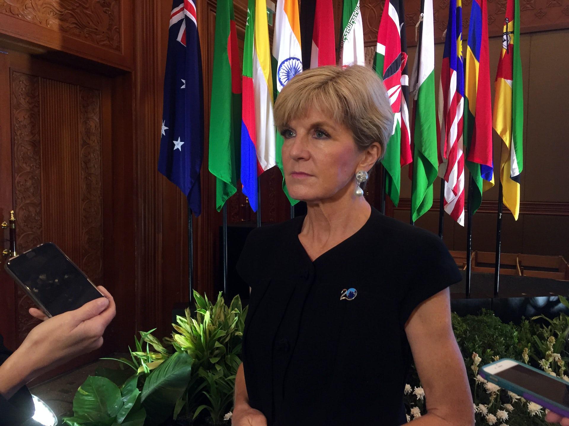 Julie Bishop sends sharp message to China about democracy