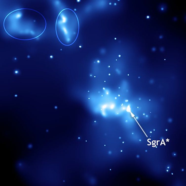Sagittarius A*. This image was taken with NASA's Chandra X-Ray Observatory. Ellipses indicate light echoes. NASA/wikipedia