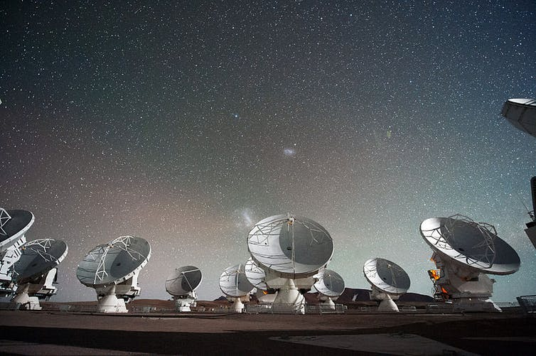 The Atacama Large Millimeter submillimeter Array ALMA by night under the Magellanic Clouds. ESO/C. Malin/wikipedia, CC BY-SA