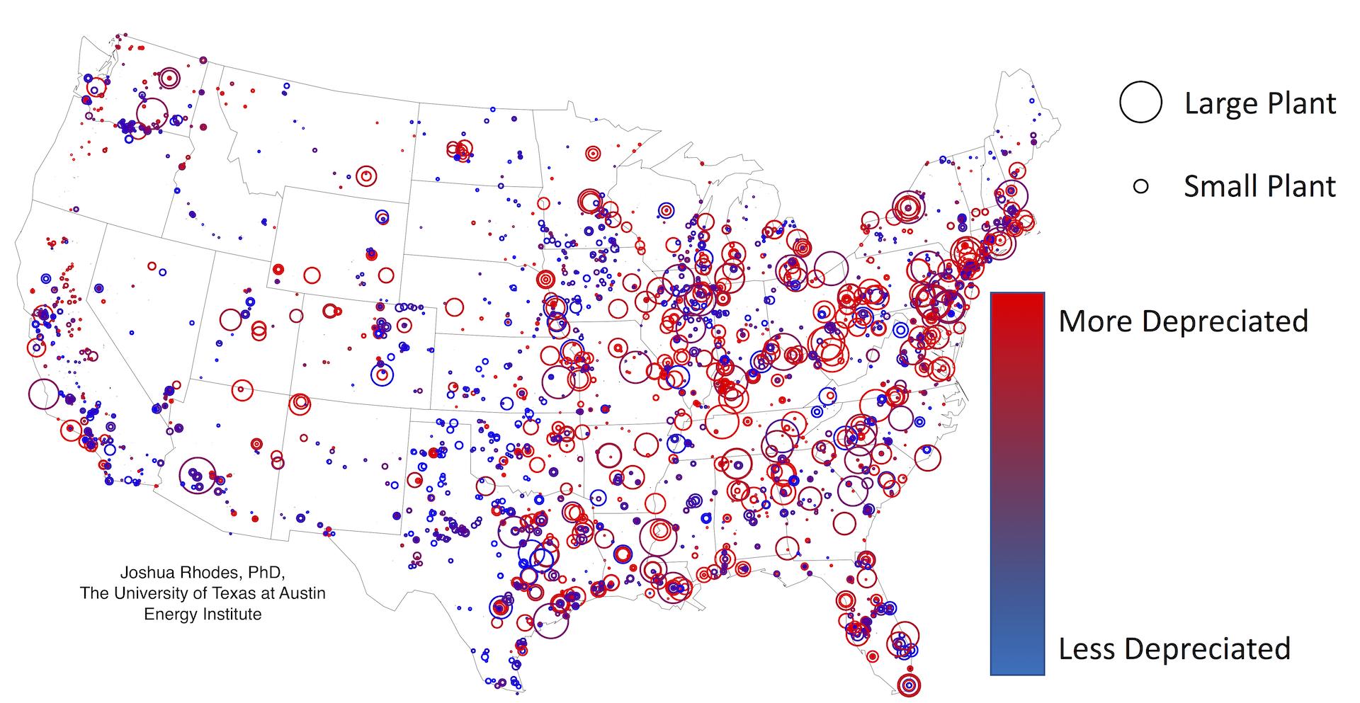 Elegant Location And Depreciated Status Of All U.S. Power Plants. Joshua Rhodes,  EIA Form 860 Data.
