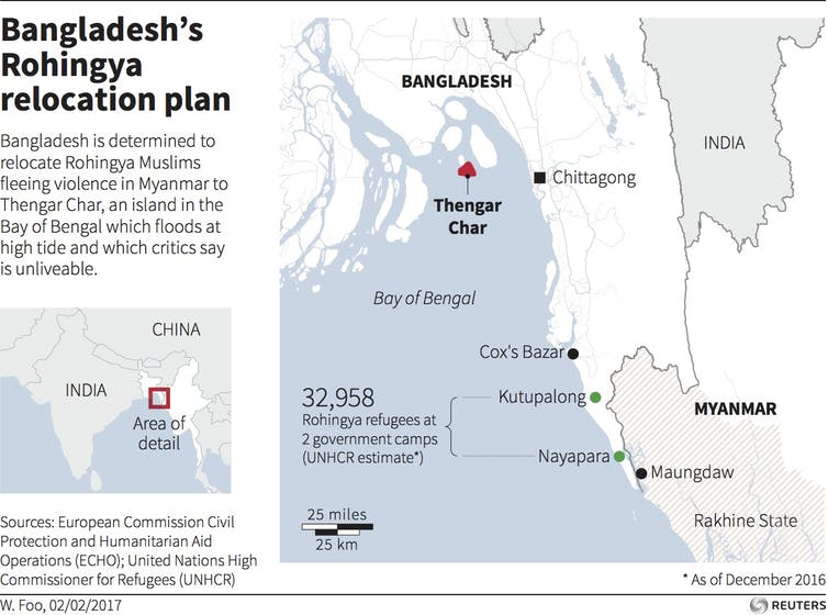 Thengar Char map outlining Bangladesh's Rohingya relocation plan. Text states: Bangladesh is determined to relocate Rohingya Muslims fleeing violence in Myanmar to Thengar Char, an island in the Bay of Bengal which floods at high tide and which critics say is unlivable.'