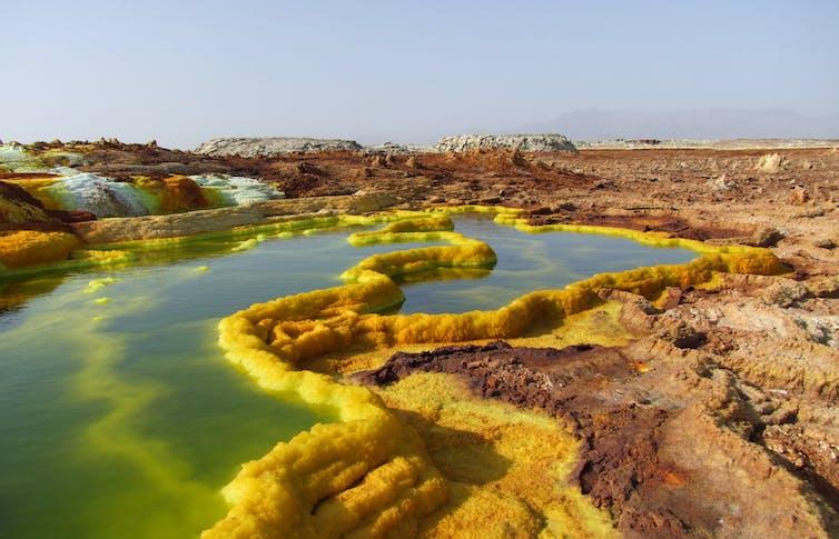 Hydrothermal pool in the Dallol hot springs, Danakil Depression. Credit: Barbara Cavalazzi