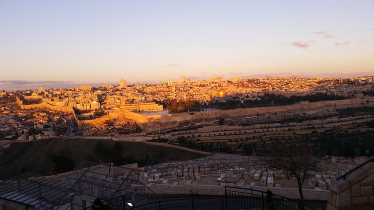 Early morning on the Mount of Olives looking over the old city of Jeruasalem. George Busby