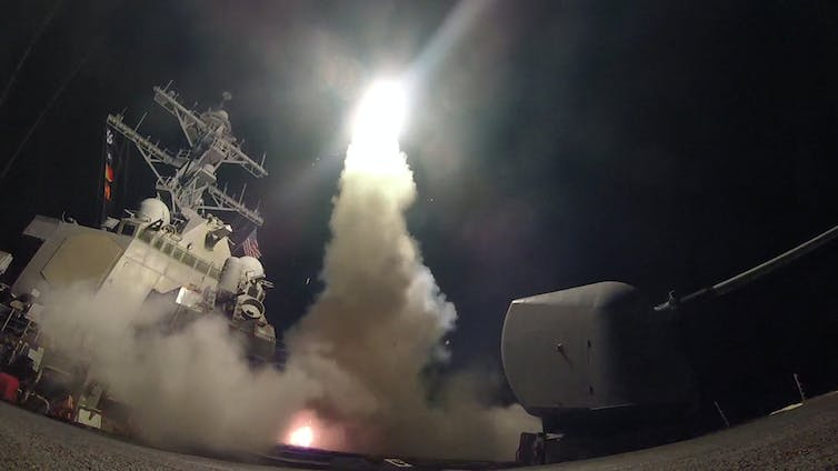 The strikes were launched from the USS Porter. Credit: Reuters