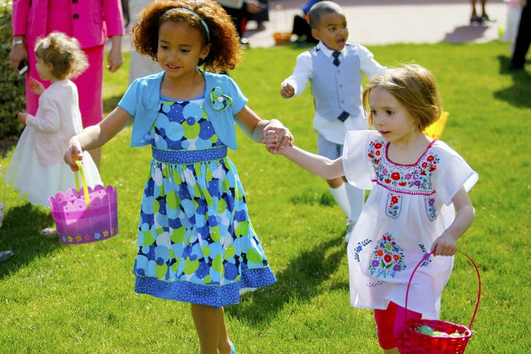 Easter egg hunt spring children