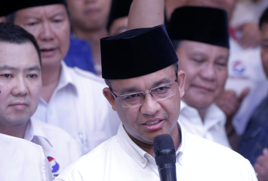 Anies Baswedan received high-profile backing in his successful campaign to be Jakarta's next governor. (Reuters Photo/Beawiharta)